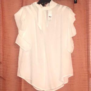 White neck tie blouse